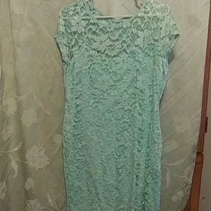 Green AFrame lace dress